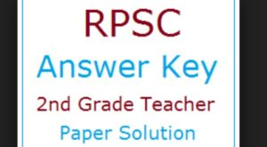 RPSC Second Grade Teacher 1 November Answer key Hindi Paper