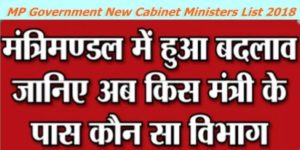 MP Government Cabinet Minister Final Updated List 2019 Department wise