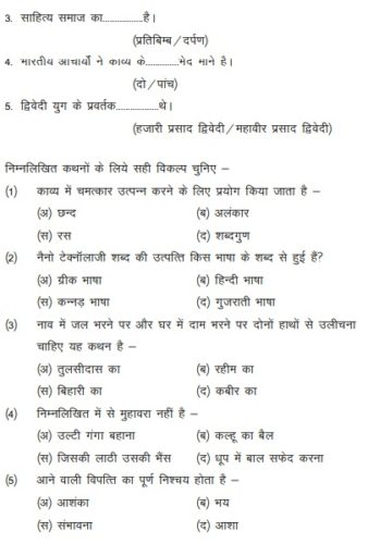 MP Board 12th Hindi (Special) Guess Paper 2019 - Blue Print