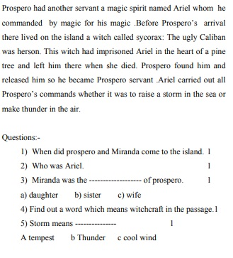 MP Board Class 10th English Guess paper, Old Question Paper